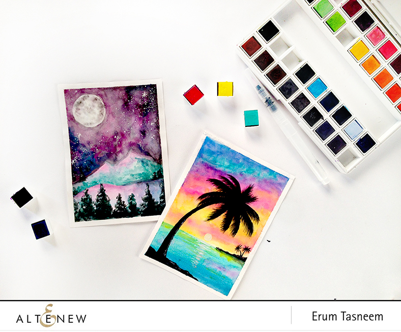 Altenew Watercolor 36 Pan Set. Scene by Erum Tasneem | @pr0digy0