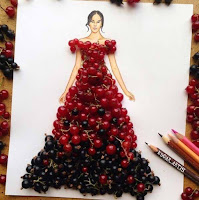 Arte con collage de comida - frutos rojos