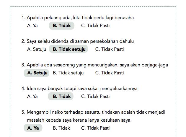 Contoh soalan ujian psikometrik