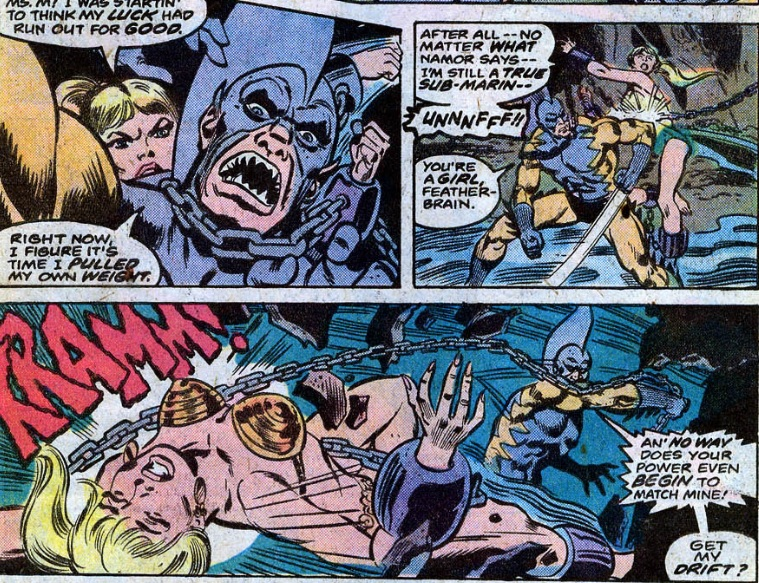 A chained Namorita fights Tiger Shark in Ms. Marvel #16 (1977)