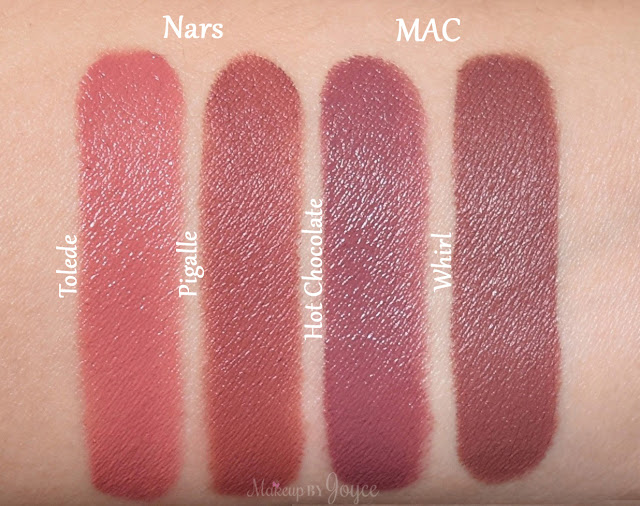 Mac Hot Chocolate vs Whirl Lipstick Swatches