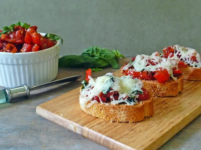 Double tomato Bruschetta on a platter