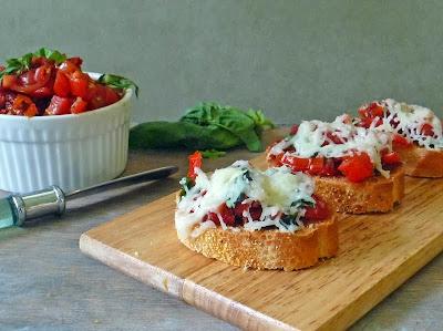 Double tomato Bruschetta on a platter