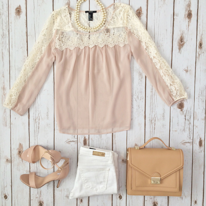 4504a36ece2 Forever 21 lace panel blush blouse BP nude sandals AG white jeans Loeffler  Randal rider camel