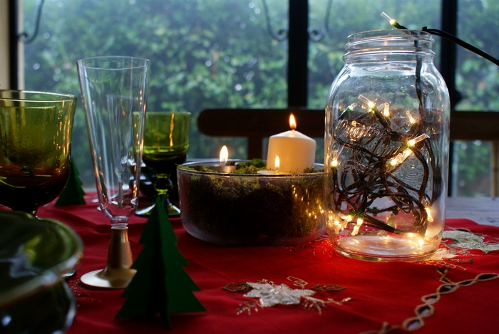 diy lights jar christmas table