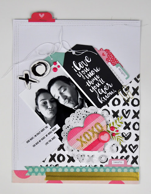 """XOXO"" Scrapbooking Process Layout includes video with Jen Gallacher from www.jengallacher.com. #scrapbooking #scrapbookprocessvideo #jengallacher"