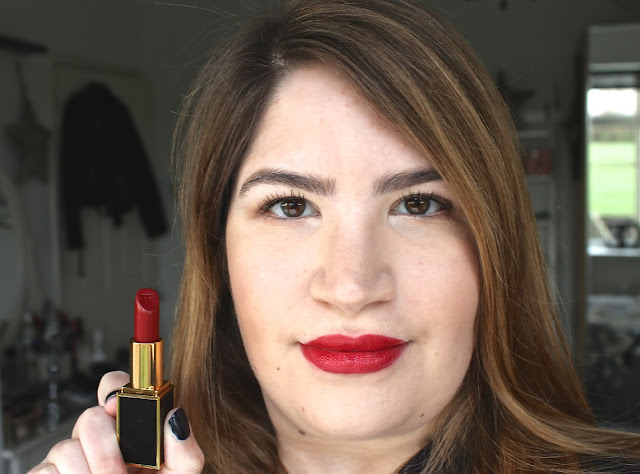 A picture of me wearing the Tom Ford Crimson Noir Lipstick