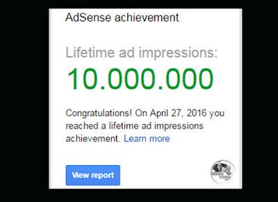 Ucapan selamat pencapaian 10 Juta dari Google Adsense