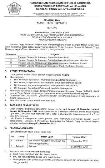 Informasi Pendaftaran Akip 2013 Calon Taruna Poltekip Dan Aim Kemenkumham Pendaftaran Prosedur Pendaftaran Dan Tanggal Pendaftar Tercantum Pada