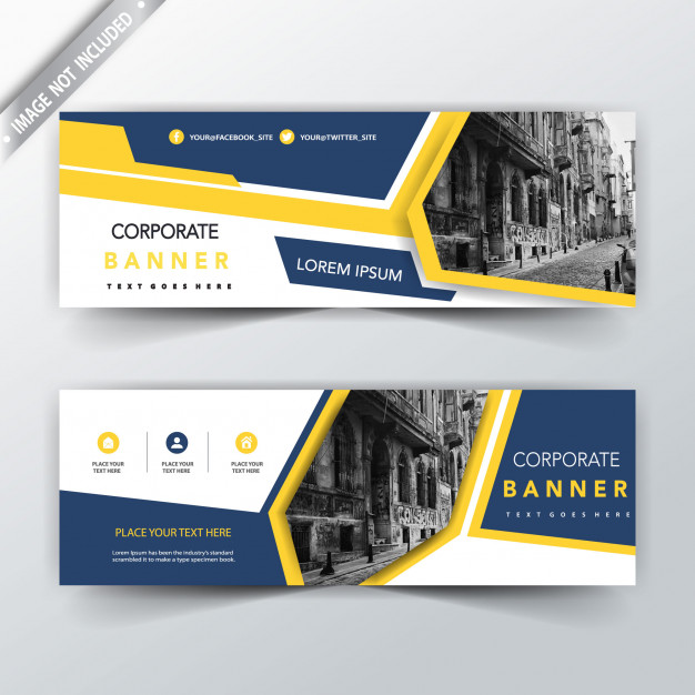 Yellow and blue two sided banner templates Free Vector