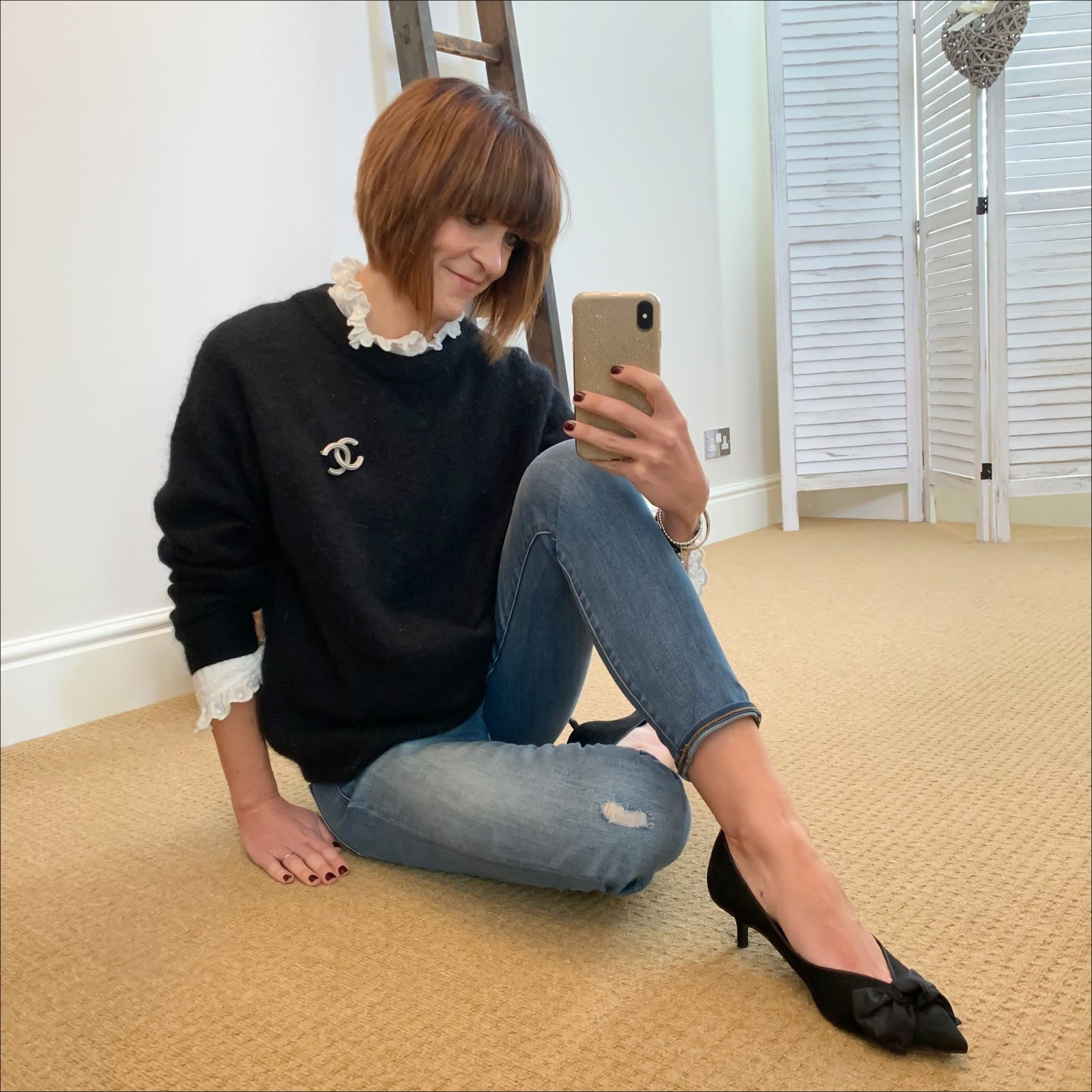 my midlife fashion, isabel marant etoile frill blouse, chanel vintage brooch, acne studios dramatic crew neck jumper, j crew 8 inch stretch toothpick jeans, zara mid heel shoes with bow