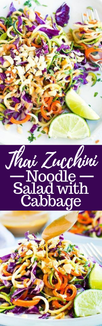 Thai Zucchini Noodle Salad with Cabbage Recipe #vegan #recipevegetarian
