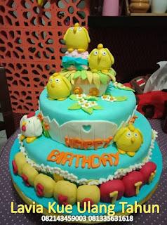 Kue Tart Ulang Tahun 2 Susun Hias Chicken Little