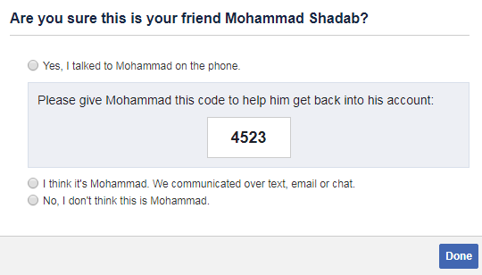 code given by trusted contacts on facebook