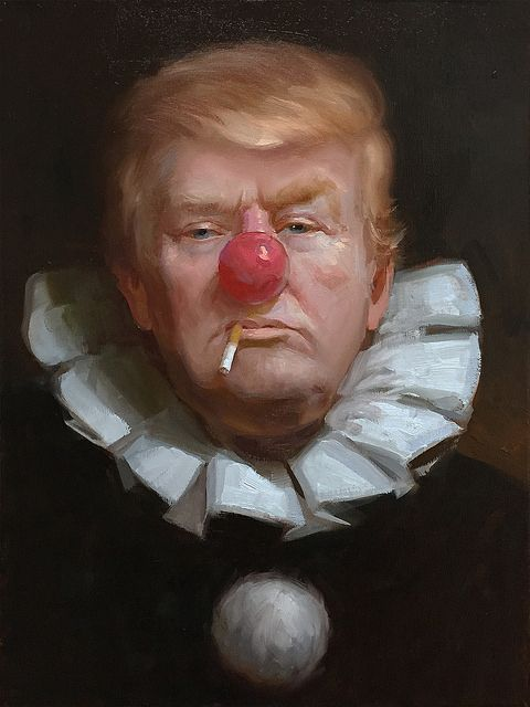 Donald Trump painted as a sad Hobo clown