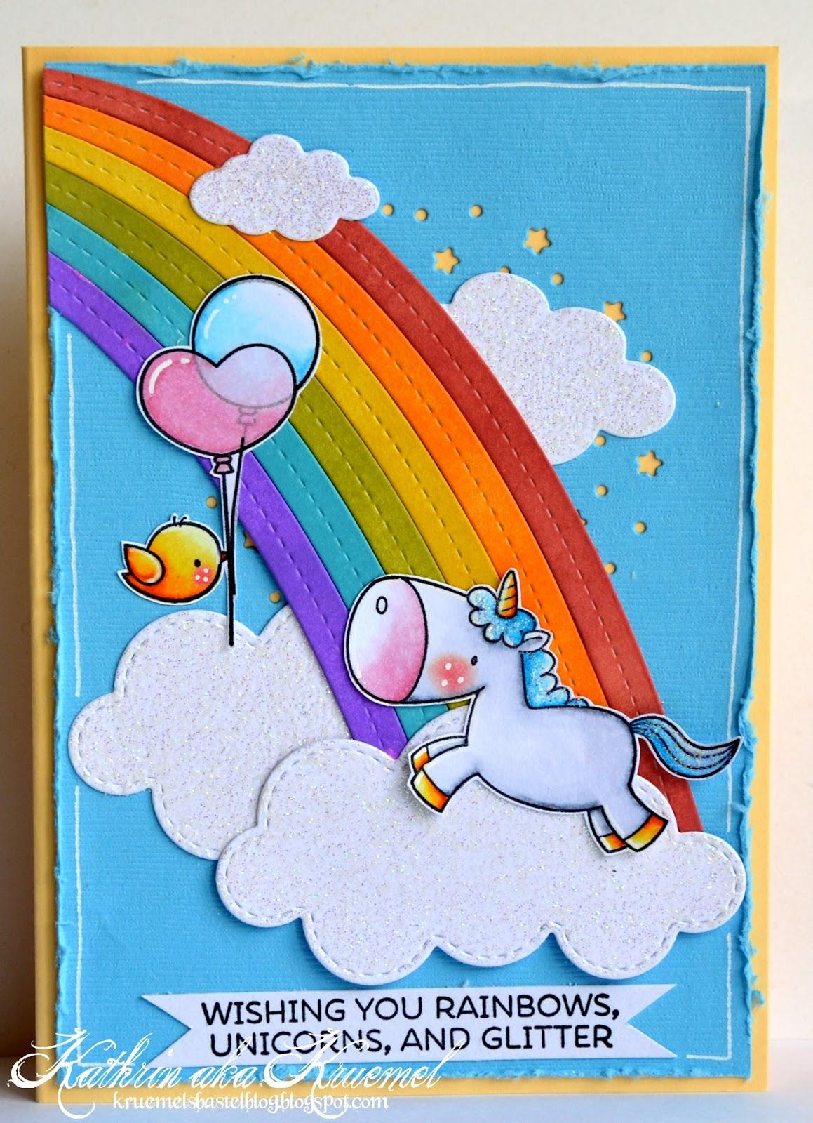 stamping fairies eine karte mit regenbogen und einhorn. Black Bedroom Furniture Sets. Home Design Ideas