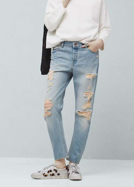 mango angie jeans, mango ripped jeans,