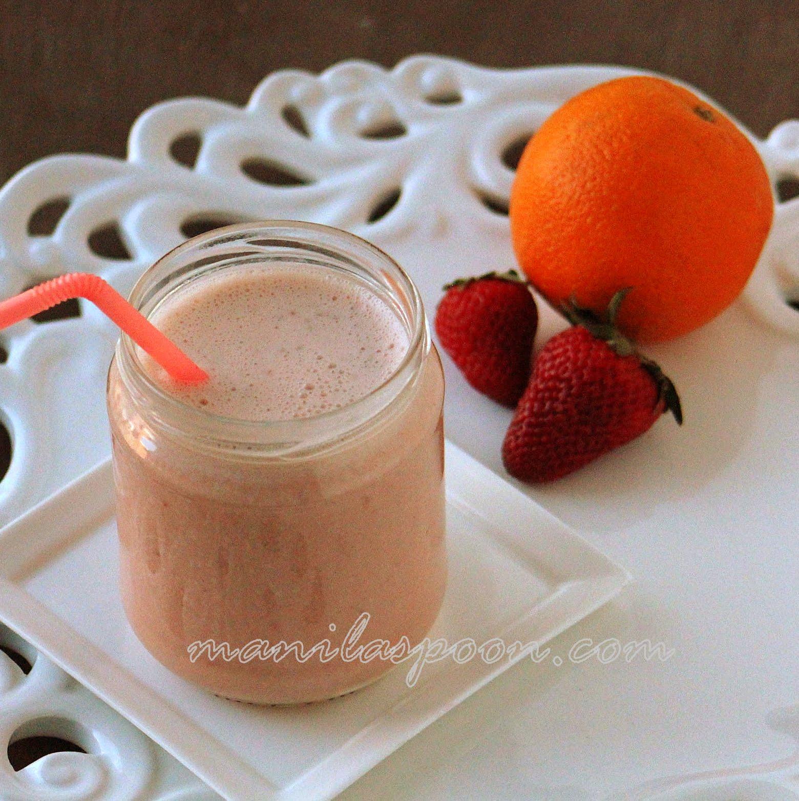 Strawberry Banana and Orange Smoothie