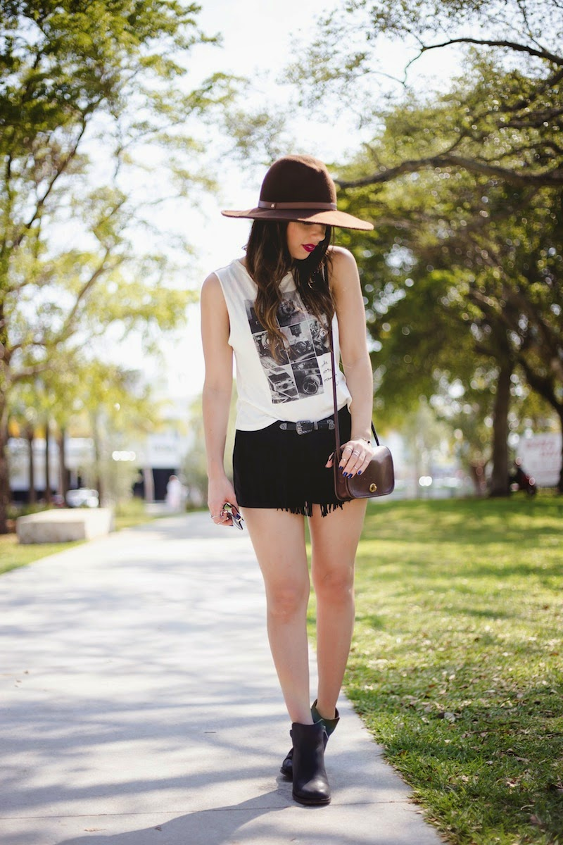 miami fashion blogger, miami, fashion, forever 21, outfit, guess, vintage, coach, car show, rebel by mac, brown hat, fringe, sperry, black boots, nany's klozet, daniela ramirez