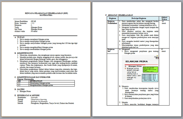 Contoh RPP Matematika Kelas 4 SD MI Semester 2 Kurikulum 2013