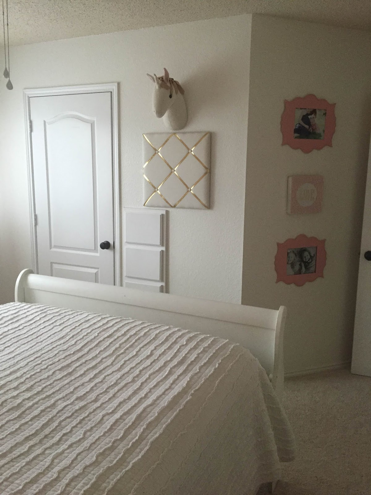 Fabulous Bed Craigslist Dresser Craiglist painted in Annie Sloan Pure white by me Pink Bird Lamp Home Goods Curtains Target Sewed pink pom pom from Hobby