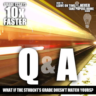 "Today's Grade Essays 10x Faster Q&A ... ""What do you do in the rare case when the grade the student gives herself doesn't match the grade you gave them?""  We're answering teachers' questions about the process of Grading Essays 10x Faster. We really want to illuminate this for you and make your lives easier."