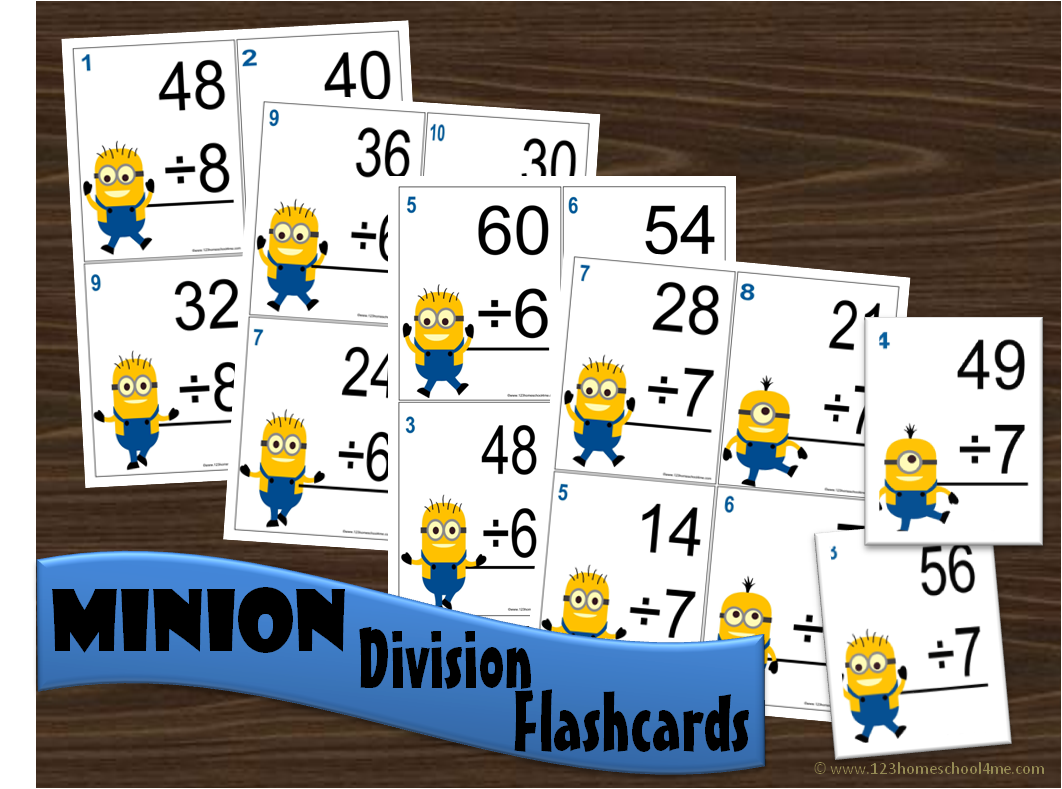 worksheet Division Flash Cards division flashcards minion flashcards