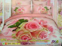 Sprei Custom Katun Jepang Panel Bunga 3D Rose Baby Pink Putih Dewasa