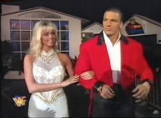 WWF / WWE - In Your House 6 - Rage in the Cage - Triple H led to the ring by adult porn star Elizabeth Hilden