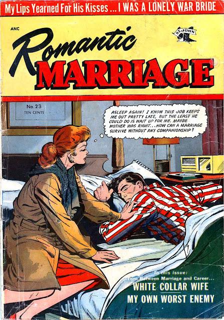 Romantic Marriage v1 #23 st.john romance comic book cover art by Matt Baker