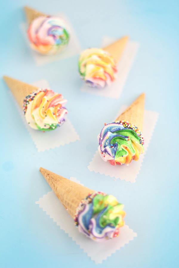 Rainbow Cake Cones Recipe