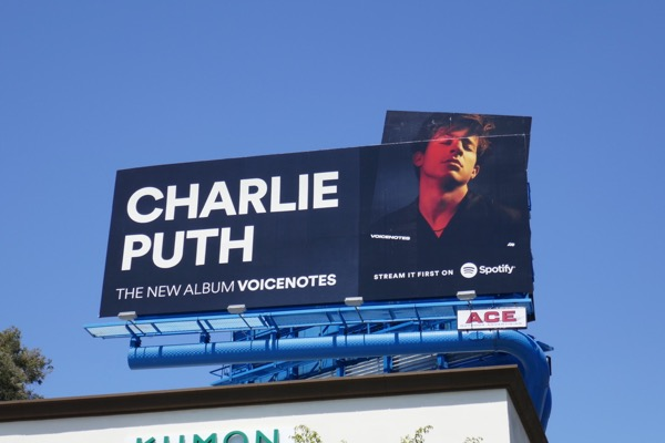 Charlie Puth Voicenotes Spotify cut-out billboard