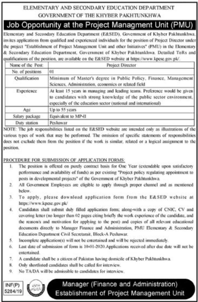 Elementary & Secondary Education Department KPK Jobs 2020 Apply Now
