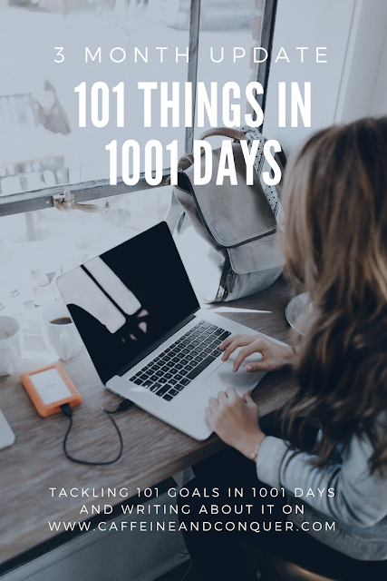 101 Things in 1001 Days Three Month Update. Tacking 101 goals in 1001 days and writing about it on caffeineandconquer.com   goal setting   goals   goal list   life goals   goal ideas #goals #goforit #goalsetting #accomplish
