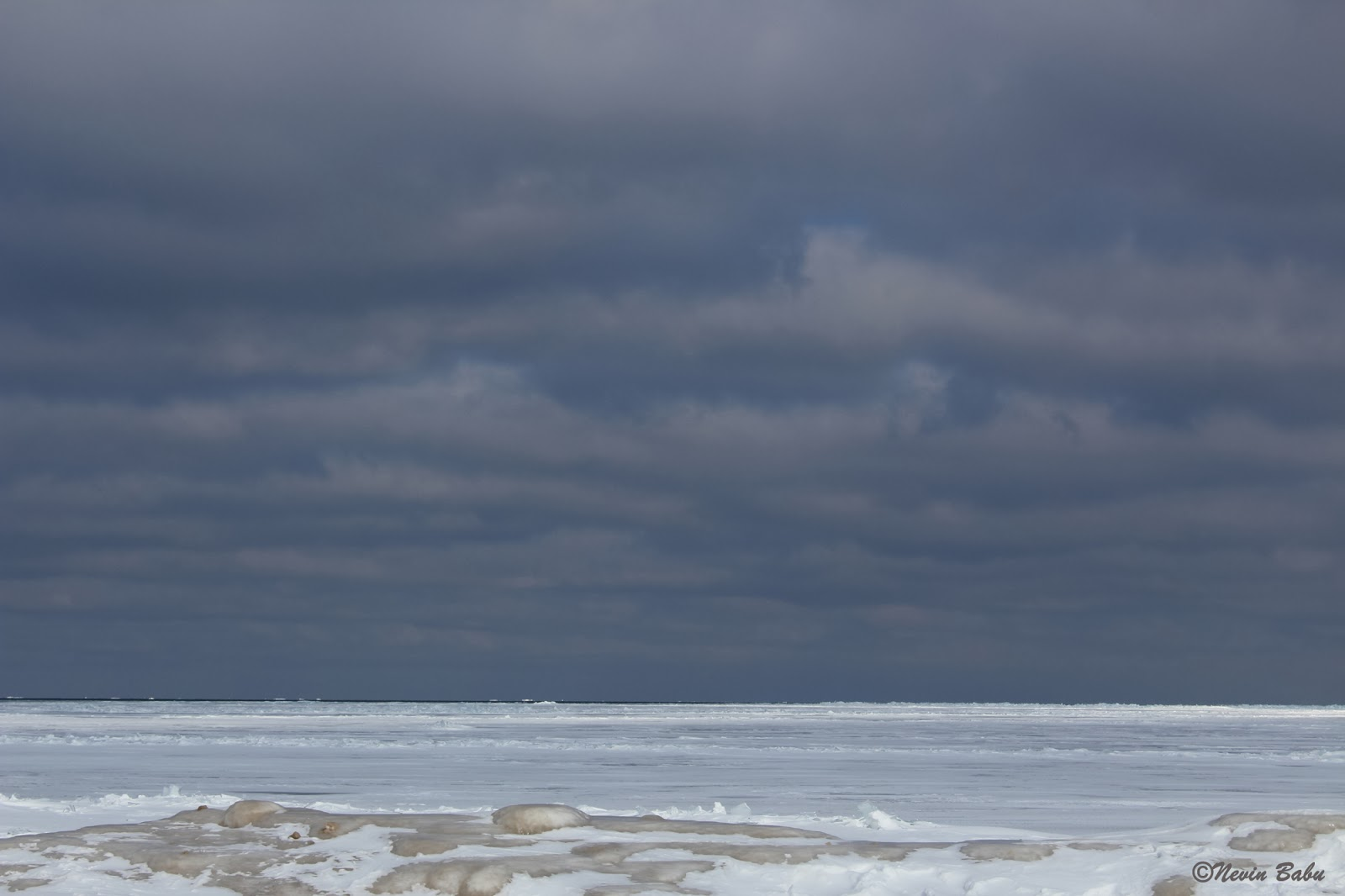 Frozen Light House Beach at Evanston