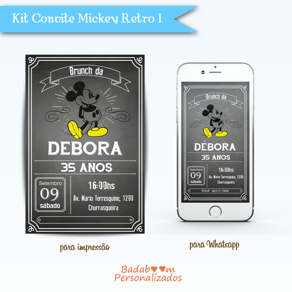 Kit de artes digitais para convite no tema Mickey Retro