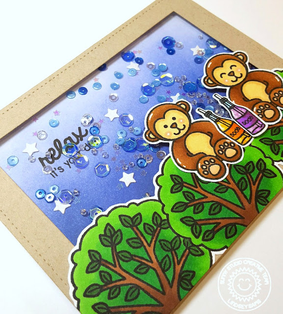 Sunny Studio Stamps: Summer Picnic and Comfy Creatures Monkey Shaker Card by Lindsey Sams.