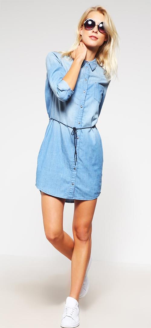 Robe chemise courte en jean bleu clair Only