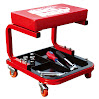 Torin TR6300 Rolling Creeper Garage/Shop Seat: Padded Mechanic Stool with Tool Tray, Red