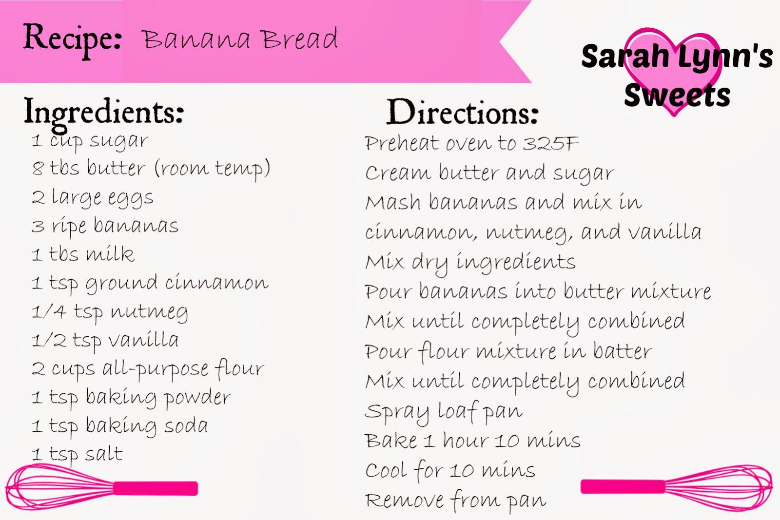 banana bread recipe card - photo #16