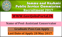 Jammu and Kashmir Public Service Commission Recruitment 2017– Assistant Conservator
