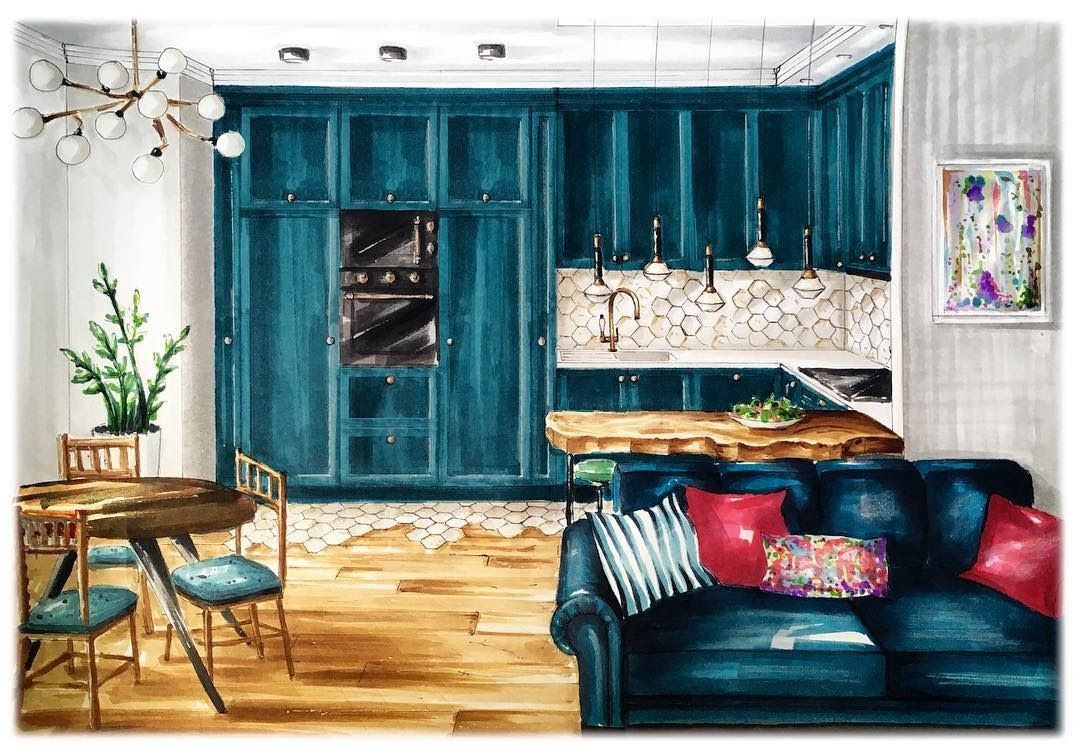 06-Kitchen-and-Living-Room-Natalia-Pristenskaya-Дизайнер-интерьеров-Interior-Design-Sketches-www-designstack-co