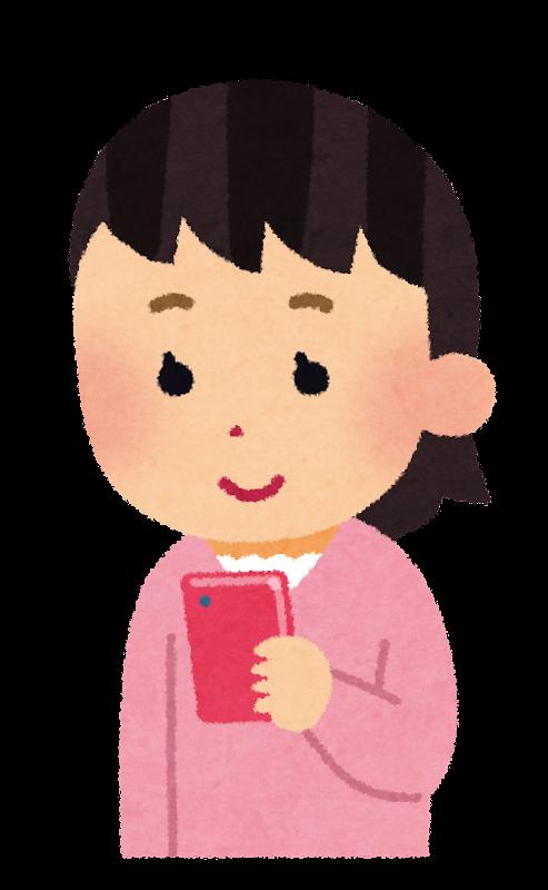 スマートフォンを使う子供のイラスト女の子 かわいいフリー素材集