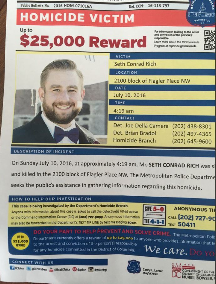 bloomingdale fresh seth rich reward flyer distributed at today s