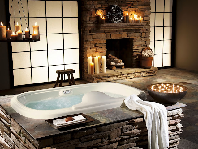 Stone bathroom with candles
