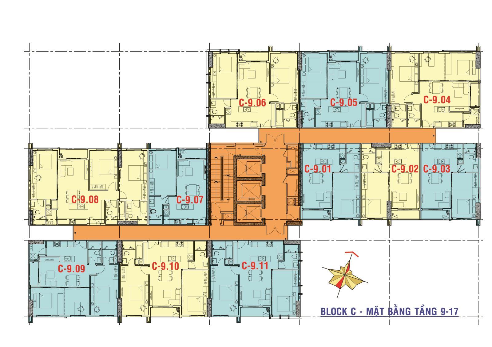 mat-bang-block C tầng 9 - tầng 18