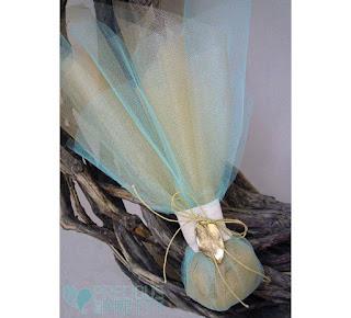 aqua blue wedding favors