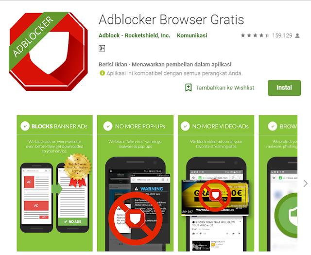 Cara menghilangkan iklan menggunakan adblock  browser