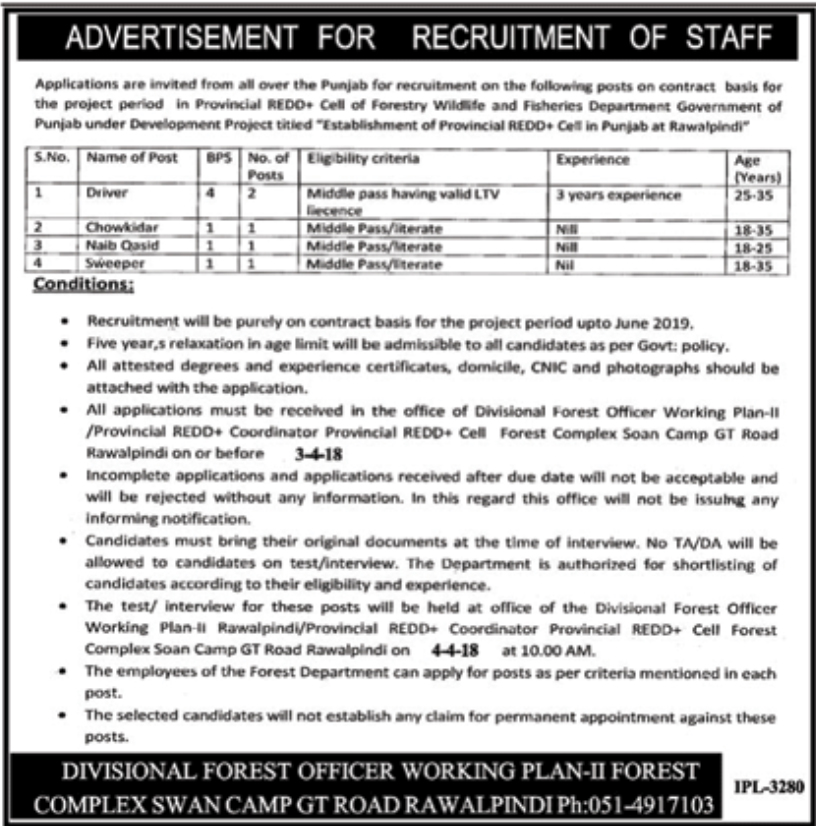 Jobs In Forest Department Punjab March 2018