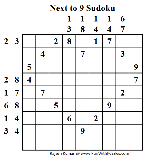 Next to 9 Sudoku (Daily Sudoku League #53)